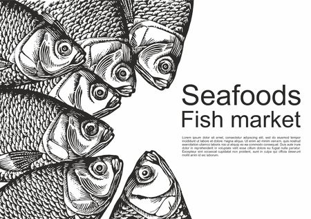 Fish restaurant table background. Engraved style illustration. Seafood top view illustration. Vector illustration Vector Illustration