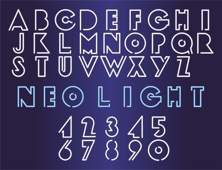 Neo Light - Neon font set, vector illustration. Neon sign creator.