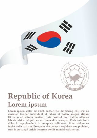 Flag of South Korea, Republic of Korea. South Korea. Bright, colorful vector illustration.