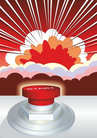 Symbol of nuclear war, end of world, dangers. Dangerous button. Nuclear explosion. Nuclear safety concept. Vector illustration.