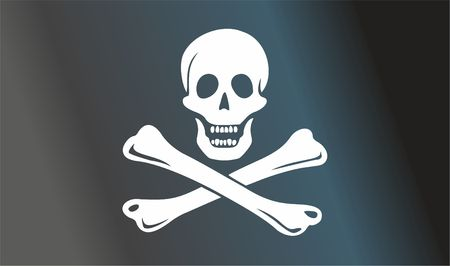 Pirate flag with skull and crossbones. The traditional