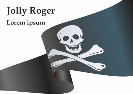 Pirate flag with skull and crossbones. The traditional Jolly Roger of piracy. Template for the design of posters, advertising, messages. Right vector illustration.
