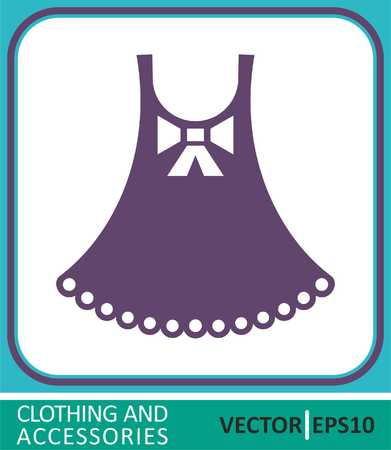 Dress for a little girl. Vector Icon.