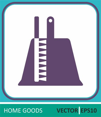 Brush and dustpan, dustpan and broom. Vector Icon. Simple vector illustration for web design.