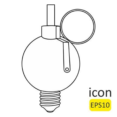 Hand grenade - lamp. Vector icon