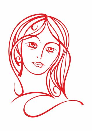 Woman's face. Abstract minimalistic linear sketch. Vector hand drawn illustration Banque d'images - 119771821