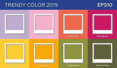 Framework with trendy colors 2019 years. Vector background. The style of polaroid