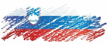Flag of Slovenia, Republic of Slovenia. The Slovenia flag for award design. Bright, colorful vector illustration Иллюстрация