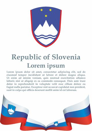 Flag of Slovenia, Republic of Slovenia. The Slovenia flag for award design. Bright, colorful vector illustration Illustration