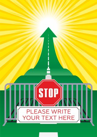 STOP sign, Concept of the road to success. Road with an arrow up. Vector illustrator Vectores