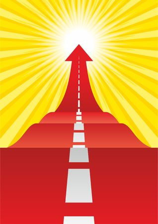 Concept of the road to success. Road with an arrow up. Vector illustrator Vectores