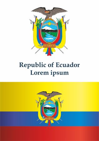 Flag of Ecuador, Republic of Ecuador. The flag of Ecuador. Bright, colorful vector illustration.