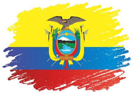 Flag of Ecuador, Republic of Ecuador. The flag of Ecuador. Bright, colorful vector illustration.