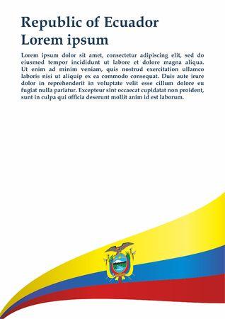 Flag of Ecuador, Republic of Ecuador. The flag of Ecuador. Bright, colorful vector illustration. 版權商用圖片 - 119769304