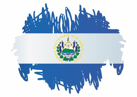 Flag of El Salvador, Republic of El Salvador. El Salvador. Bright, colorful vector illustration.