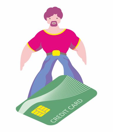 Man makes shopping easily. Surfing on a credit card, convenient payment concentration. Pleasure of purchase. For sales and discounts.