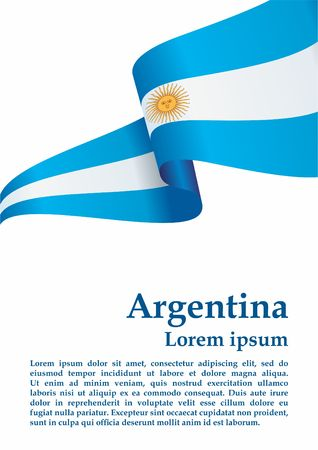 Flag of Argentina, Argentine Republic. Flag of Argentina and other uses. Bright, colorful vector illustration. Ilustracja