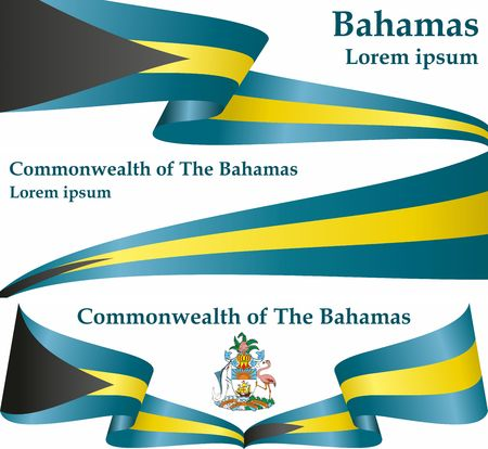 Flag of the Bahamas, Commonwealth of the Bahamas. Template for the design of the Bahamas. Bright, colorful vector illustration. Vetores