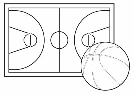 Basketball court floor with wood texture Vector illustration.