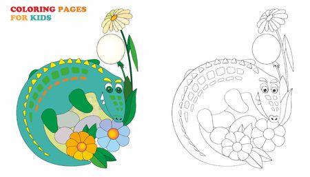 Crocodile, coloring pages for kids. Vector illustration easy editable for book design. Ilustração