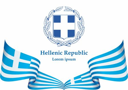 Flag of Greece, Hellenic Republic. Template for the award of the flag of Greece. Bright, colorful vector illustration.
