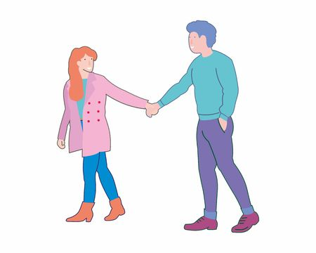 Young couple in love walking holding hands. Vector flat cartoon illustration isolated on white background.