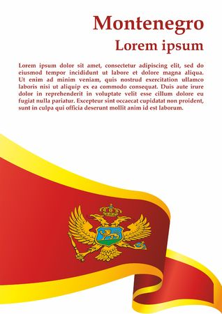 Flag of Montenegro, Montenegro. The flag of Montenegro. Bright, colorful vector illustration.