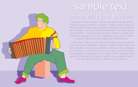 Joven músico toca el acordeón. Personaje divertido. Hombre de dibujos animados toca música hermosa. Estilo moderno. Diseño plano de ilustración vectorial.