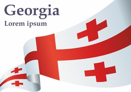 Flag of Georgia, Five Cross Flag. Georgia and other uses. Bright, colorful vector illustration.