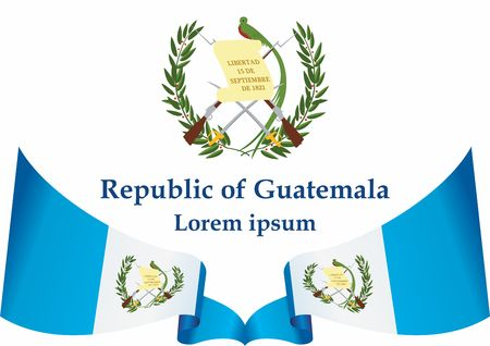 Flag of Guatemala, Republic of Guatemala. Guatemala and other uses. Bright, colorful vector illustration.  イラスト・ベクター素材