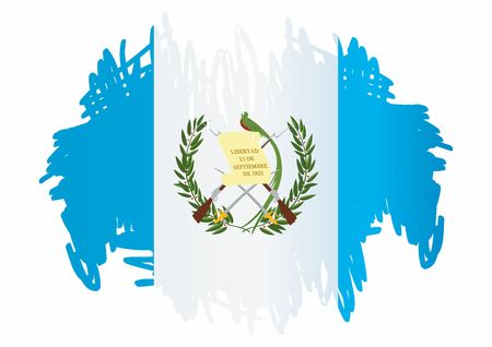 Flag of Guatemala, Republic of Guatemala. Guatemala and other uses. Bright, colorful vector illustration. Ilustração