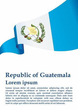 Flag of Guatemala, Republic of Guatemala. Guatemala and other uses. Bright, colorful vector illustration. Иллюстрация