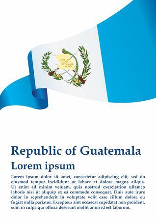 Flag of Guatemala, Republic of Guatemala. Guatemala and other uses. Bright, colorful vector illustration. Illustration