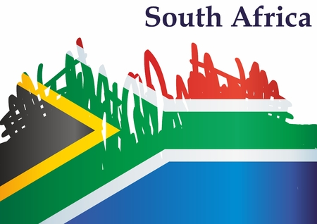 Flag of South Africa, Republic of South Africa. Sacrifice for South Africa. Bright, colorful vector illustration.