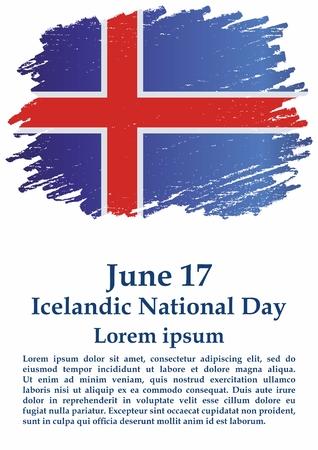 Flag of Iceland, Iceland. Icelandic National Day, June 17, Iceland. Bright, colorful vector illustration.  イラスト・ベクター素材