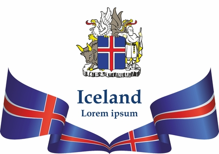 Flag of Iceland, Iceland. Template for the design of the Iceland. Bright, colorful vector illustration. Vetores