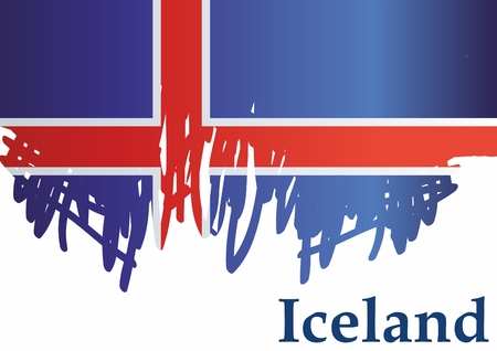 Flag of Iceland, Iceland. Template for the design of the Iceland. Bright, colorful vector illustration.