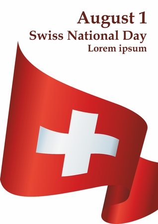 Flag of Switzerland, Swiss Confederation. Swiss National Day, August 1. Bright, colorful vector illustration.