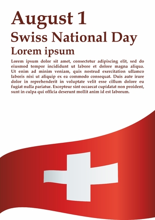 Flag of Switzerland, Swiss Confederation. Swiss National Day, August 1. Bright, colorful vector illustration. Ilustração