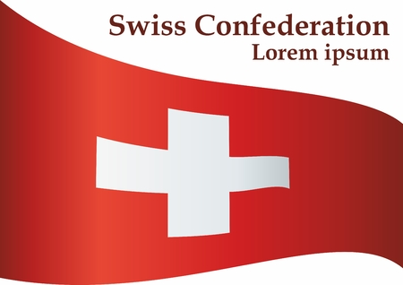 Flag of Switzerland, Swiss Confederation. The flag of Switzerland is a template for an award design. Bright, colorful vector illustration. Banque d'images - 122250642