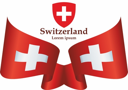Flag of Switzerland, Swiss Confederation. The flag of Switzerland is a template for an award design. Bright, colorful vector illustration.