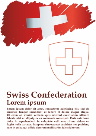 Flag of Switzerland, Swiss Confederation. The flag of Switzerland is a template for an award design. Bright, colorful vector illustration. Standard-Bild - 122250645