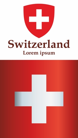 Flag of Switzerland, Swiss Confederation. The flag of Switzerland is a template for an award design. Bright, colorful vector illustration. Banque d'images - 122250647
