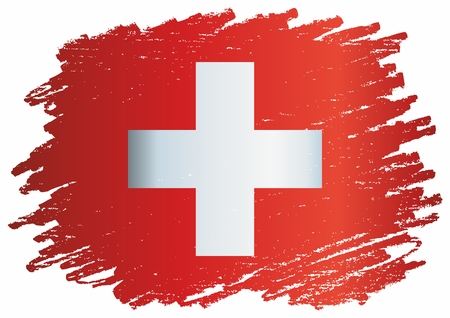 Flag of Switzerland, Swiss Confederation. The flag of Switzerland is a template for an award design. Bright, colorful vector illustration. Banque d'images - 122250652