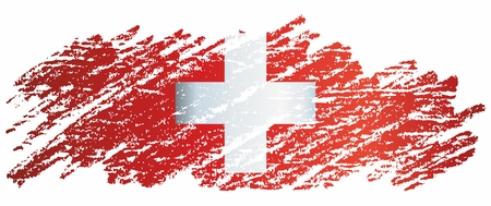 Flag of Switzerland, Swiss Confederation. The flag of Switzerland is a template for an award design. Bright, colorful vector illustration. Banque d'images - 122250653