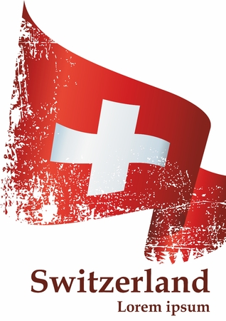 Flag of Switzerland, Swiss Confederation. The flag of Switzerland is a template for an award design. Bright, colorful vector illustration. Banque d'images - 122250681
