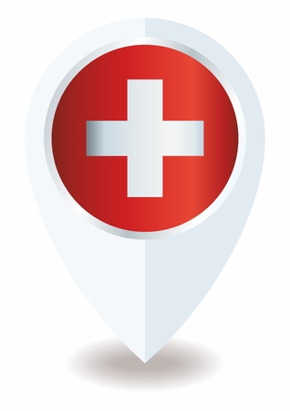 Flag of Switzerland, Swiss Confederation. The flag of Switzerland is a template for an award design. Bright, colorful vector illustration. Banque d'images - 122250690