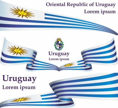 Flag of Uruguay, Oriental Republic of Uruguay. Uruguay. Bright, colorful vector illustration.