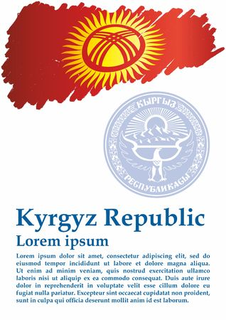 Flag of Kyrgyzstan, Kyrgyz Republic. Template for award design Bright, colorful vector illustration.