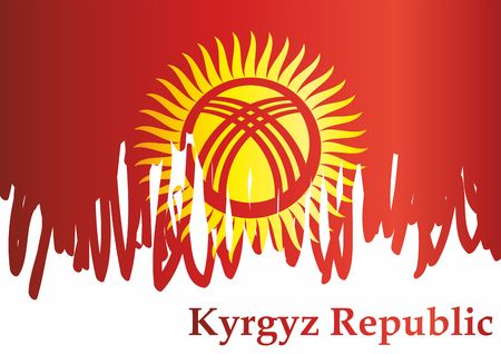 Flag of Kyrgyzstan, Kyrgyz Republic. Template for award design Bright, colorful vector illustration.